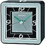 Seiko QHE098K Travel Portable Bedside Snooze Alarm Clock with Flashing Light - Black/Silver
