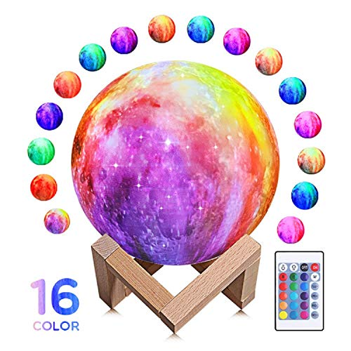 Moon Lamp 3D Printing 16 Colors LED Moon Light with Stand and Time Setting Remote Touch Control, Hanging Lunar Global Lights for Birthday Party Kids