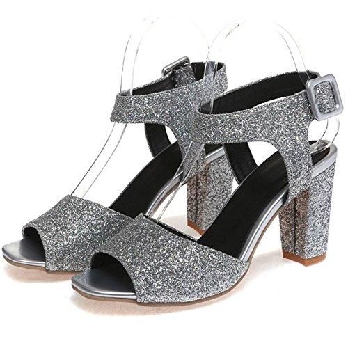 COOLCEPT Damen Mode Knochelriemchen Sandalen Blockabsatz Peep Toe Slingback Schuhe Gr Silber