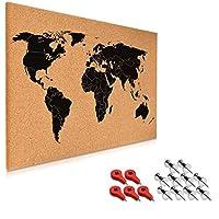 Navaris Cork Bulletin Board - 60 x 40 cm Push Pin Memo Corkboard in World Map Design with Push Pins for Kitchen, Classroom, Home Office