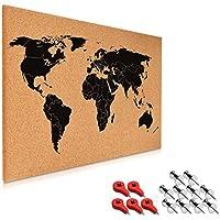 Navaris tablero de notas de corcho - tablero mapa del mundo 60x40 cm - en diseño de mapamundi - con set de montaje y 15 chinchetas