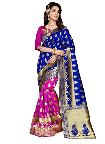 Stylefabs Women's Cottton Silk Saree(Blue And Pink Color_FreeSize)