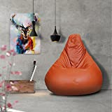 Story@Home XL Leatherite Single Seating Tear Drop Bean Bag Chair Cover Without Filler, Orange