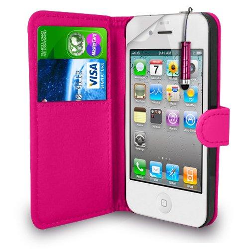 Apple iPhone 4S / 4G / 4 - Leder Geldbörse Flip Hülle Tasche + Mini Stylus Pen + Displayschutzfolie und Poliertuch (Pink)