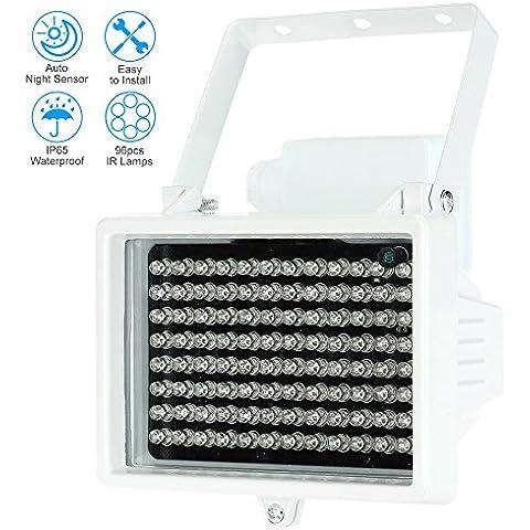 KKmoon 96 LED Lámparas Iluminador IR Matriz 12W Infrarrojo Visión Nocturna Impermeable al Aire Libre para Cámara de Seguridad