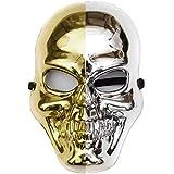 Goods & Gadgets Glänzende Skelett Maske in Gold & Silber Gevatter Tod Halloween Skelettmaske - Silberne Skull Mask