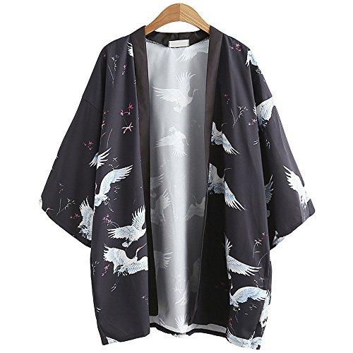 Mädchen Japanischen Kostüm Harajuku - Japanische Kimono Jacke Robe - Traditionelle Klassische Haori Kleidung Tokio Harajuku Antike Stile Floral Geblümte Lockere Jacke Robe Kostüm Bademantel Nachtwäsche für Frauen Männer Mädchen (Schwarz)
