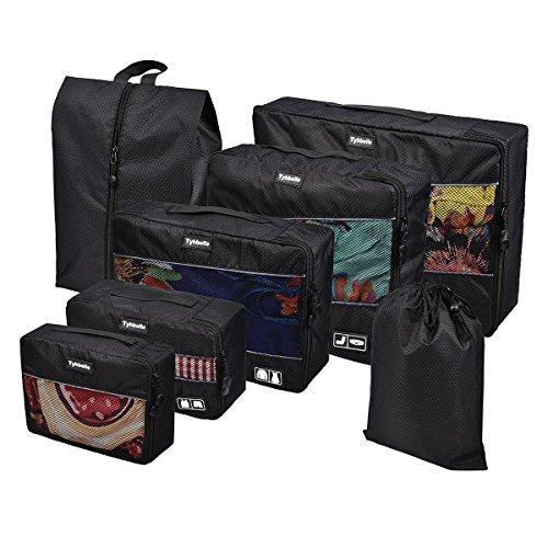 Tyhbelle Kleidertasche Packing Cubes Packwürfel im 7-teiligen Sparset Ultra-leichte Gepäckverstauer Ideal für Reise, Seesäcke, Handgepäck und Rucksäcke (7-teiliges Set, Schwarz)