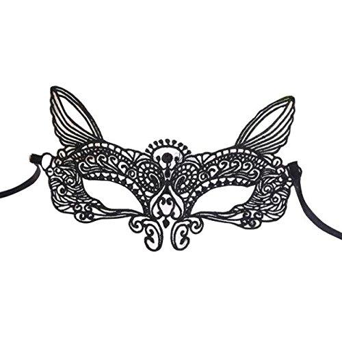 (Lazzboy Maske Karneval Halloween Maskerade Sexy Lady Black White - Spitzenmaske höhlen Catwoman aus(C))