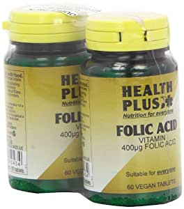 Health Plus Folic Acid 400g Vitamin B Supplement - 2 X Packs Of 60 Tablets (120 Tablets)