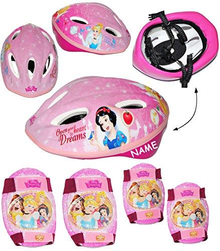 Unbekannt Set: Kinderhelm + Schützer - Disney  Princess  - incl. Name - Gr. 52 - 56 - Circa 3 bis 15 Jahre - Verstellbarer Helm - Prinzessin - für Kinder Mädchen / FA..