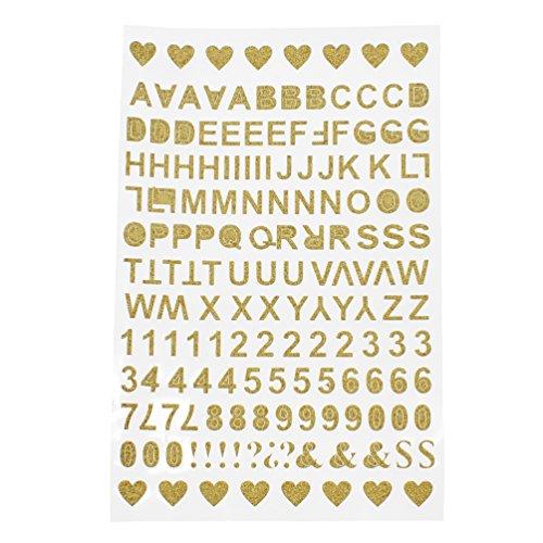 Kesheng Aufkleber Sticker Buchstaben Zahlen Zeichen Golden Scrapbooking Basteln (Scrapbooking-aufkleber Buchstaben)