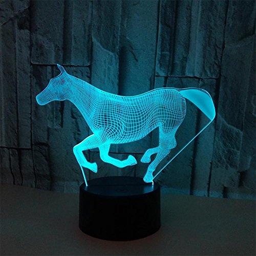XXQ 3D LED Nachtlicht Lampe, Horse Bunte Touch Switch Tischleuchte, Acryl Geschenk Atmosphäre Lichter, USB Powered Lights -