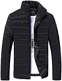 DoraMe Los hombres Cálido Abrigo Cuello alto Slim Zip chaqueta de invierno Outwear Jacket