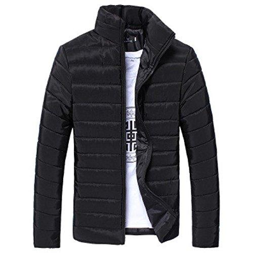 DoraMe Los hombres Cálido Abrigo Cuello alto Slim Zip chaqueta de invierno Outwear Jacket (Negro, L)