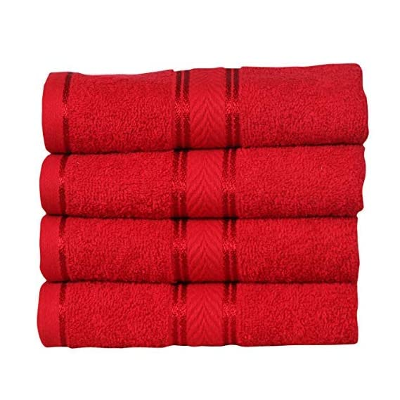 DIVINE OVERSEAS Elegance 100% Cotton/Soft/Highly Absorbent / 450 GSM / (Pack of 4 Hand Towels (16 x 24), Festive Red)