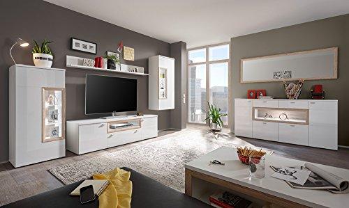 lifestyle4living Anbauwand 4-TLG. in weiß mit weißen Hochglanzfronten, San Remo, Standvitrine, Lowboard, Wandboard, Hängevitrine, Maße: B/H/T ca. 300/187/44