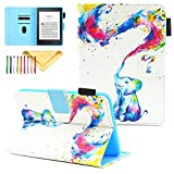 Uliking Case for Kindle Paperwhite 3 2 1, PU Leather Slim Folio Cartoon Stand Wallet Covers with Auto Sleep/Wake for All Amazon Kindle Paperwhite (Fits All Generations), Rainbow Elephant
