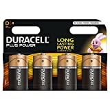 Duracell MN1300 Plus Power D Size Batteries, 4 Batteries