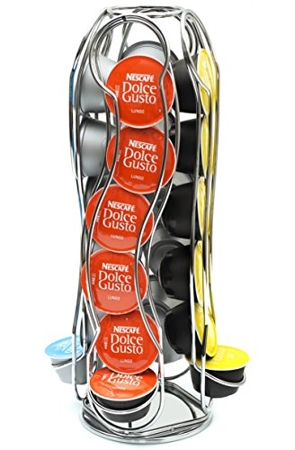 Coffee shop - athéna ch0013 - portacapsule rotary in metallo acciaio inossidabile per dolce gusto capienza 24 capsule stand porta capsule di caffè