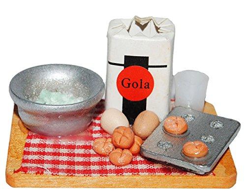1 Set _ Diorama Platte: Brötchen mit Milch, Form, Schüssel, Eier + Meßbecher - Miniatur aus Holz / Maßstab 1:12 - Kuchen Plätzchen backen - Lebensmittel Zubehör Küche Puppenstube / Puppenhaus