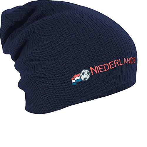 Longbeanie Slouch-Beanie Mütze Niederlande mit Fahne 54593 Farbe Navy