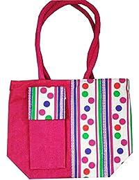 Samyawoven Bag Women's Casual Canvas Tote Bags Shoulder Handbag Travel Bag Pink Dotted