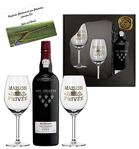 DAS Portwein Geschenk-Set | GRAHAM's Six Grapes Reserve inkl. 2 Sommelier-gläsern mit Echt-Gold...