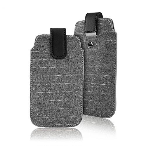 """Preisvergleich Produktbild Handytasche grau geeignet für """"Samsung Galaxy A5 (2016)"""" Handy Schutz Hülle Slim Case Cover Etui mit Auszugband schwarz"""