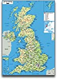 United Kingdom Map Poster (A2 Size 594mm x 420mm)