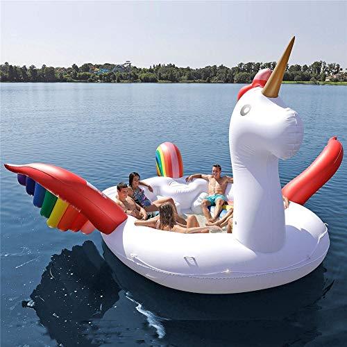 W.WMVN Gran Isla Hinchable de Unicornio 6 Personas (Party Bird Island-Unicorn) Family Reunion