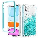 wlooo Cover per iPhone 11, Glitter Bling Liquido Corpo Pieno Custodia Sparkly Luccichio TPU Silicone Protettivo Morbido Brillantini Quicksand Ragazze Case con Pellicola Protettiva (6.1) (Teal)