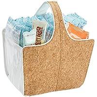 mDesign Cesta de almacenaje – Perfecta cesta organizadora para baño o para las cosas de su bebé – Mantenga el orden de su hogar con esta bonita cesta de corcho con asas