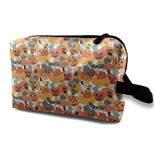 Kürbis Patch Light_2948 Tragbare Reise Make-Up Kosmetiktaschen Organizer Multifunktions Fall Taschen für ()