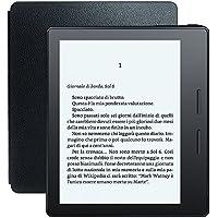 """E-reader Kindle Oasis con custodia-caricatore in pelle nera, schermo da 6"""" ad alta risoluzione (300 ppi) con luce integrata, Wi-Fi"""