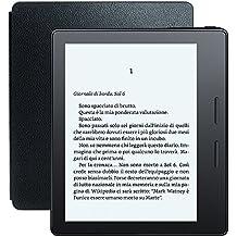 E-reader Kindle Oasis con custodia-caricatore in pelle nera, schermo da
