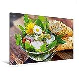 Premium Textil-Leinwand 120 cm x 80 cm quer, Frischer Frühlingssalat | Wandbild, Bild auf Keilrahmen, Fertigbild auf echter Leinwand, Leinwanddruck: Gesunde Küche (CALVENDO Lifestyle)
