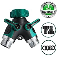 CALISH 2 Way Garden Hose Splitter, Outdoor Utility Y Valve Hose Connector, Comfortable Rubberized Grip Faucet Adapter with 2 Connectors and 4 Rubber Washers