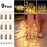 Opard Wine Bottle Lights with Cork 9 Pack Copper Wire Fairy Lights Bottle Lamp Warm White 2M/20 LEDs Battery Operated for Parties, Wedding, Christmas