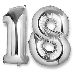 Idea Regalo - ocballoons Palloncino 18 Anni Mylar Numero Colore Argento Altezza 100 cm Compleanno Festa Gas Elio