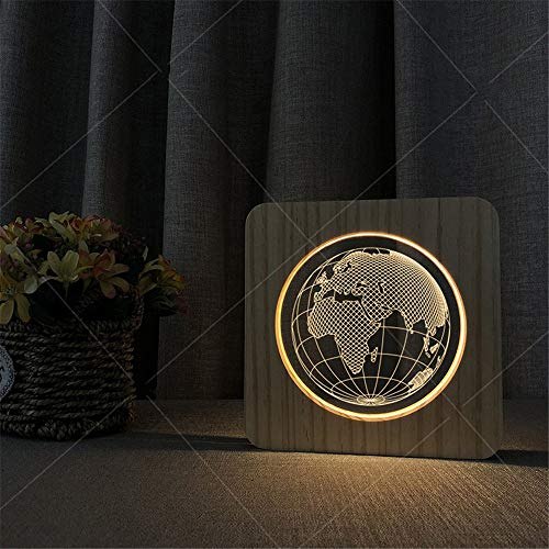 3D Illusion Lampe 3D Holz Acryl Illusion LED Lampe Globus Muster Augenpflege Kinder Schlafzimmer Nachtlicht Schreibtischlampe Geschenk für Baby Kinder Erwachsene Wohnzimmer Dekoration USB Powered Swit -
