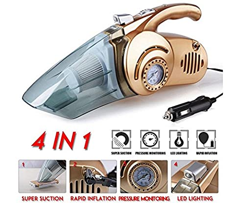 NWYJR Car Vacuum Cleaner ,Handheld Car Vacuum Cleaner, Wet and Dry Use with Powerful 12V DC 60W Power Supply and Multifunctions - Tire Inflator Pump Air Compressor ,Tire Pressure Gauge and LEDs light