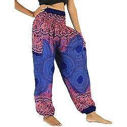 NaLuck Pantalones hippies para mujer, cintura elástica, sueltos, estampado floral y de pavo real azul azul marino Talla única