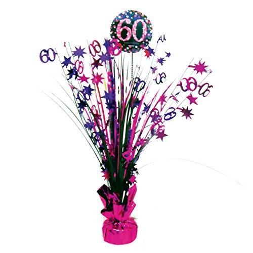 Neu: Tisch-Dekoration * Magenta Sparkling * für den 60. Geburtstag | sechzig Jahre Centerpiece Deko Happy Birthday Set rosa Glitzer schwarz