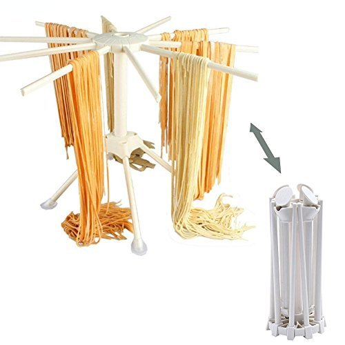Yooaky Collapsible Pasta Maker Drying Rack, Household Plastic Spaghetti or Noodle Dryer Stand Fram Holder White
