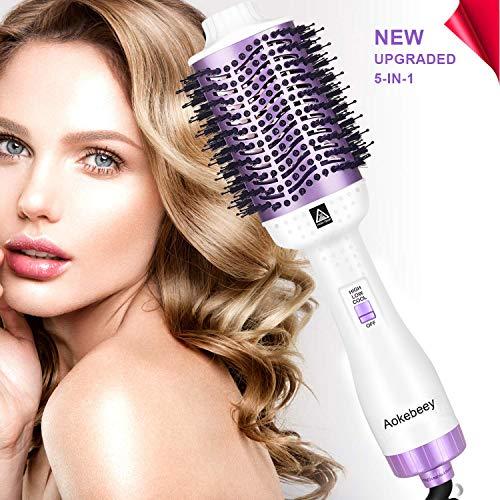 Aokebeey Professionel Rundbürstenföhn 5 in 1 Multifunktional Oval Haartrockner Ionic Fönbürste Haarglätter Bürste für Frauen Weiß Lila