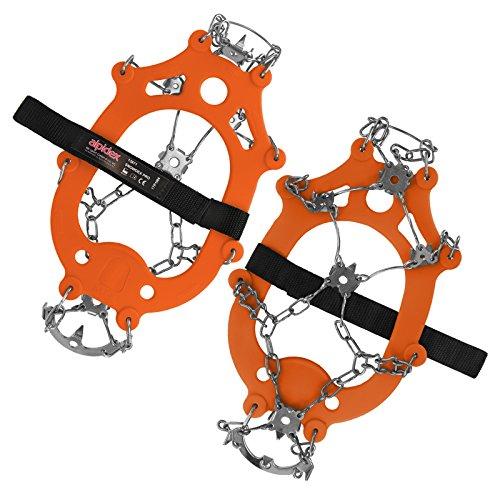 ALPIDEX Ramponi Ghiaccio Neve Ramponi Antiscivolo Ghiaccio Scarpe 21 Denti Acciaio, Taglia:S, Colore:Orange