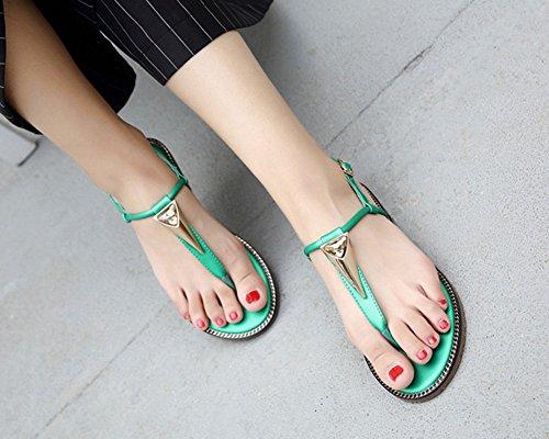 Sandali Bassi Donna Scarpe Piatte Boemia Stile Sandali Da Spiaggia Scarpe Casual Verde