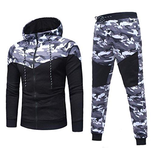 CICIYONER Herren Herbst Winter Tarnung Sweatshirt Oben Hose Sätze Sport Passen Trainingsanzug (XL, Schwarz)