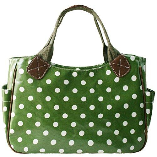 Miss Lulu Damen Gepunktet Wachstuch Shopper Schultertasche Umhängetasche Tupfendruck Tasche Gepunktet Grün